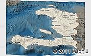 Shaded Relief 3D Map of Haiti, darken