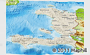 Shaded Relief 3D Map of Haiti, physical outside
