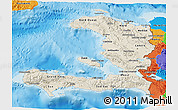 Shaded Relief 3D Map of Haiti, political outside, shaded relief sea