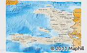 Shaded Relief 3D Map of Haiti, political shades outside, shaded relief sea