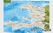 Shaded Relief 3D Map of Haiti, satellite outside, shaded relief sea