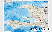 Shaded Relief 3D Map of Haiti, semi-desaturated, land only