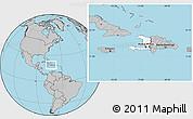 Blank Location Map of Haiti, gray outside