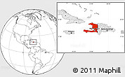 Blank Location Map of Haiti, highlighted continent