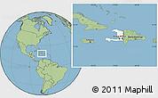 Blank Location Map of Haiti, savanna style outside