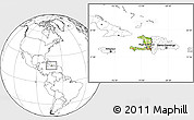 Physical Location Map of Haiti, blank outside