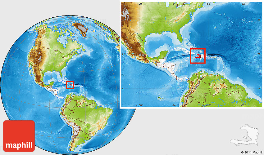 Physical Location Map of Haiti, highlighted continent, within the ...