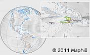 Physical Location Map of Haiti, lighten, desaturated