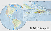 Physical Location Map of Haiti, lighten