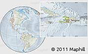 Physical Location Map of Haiti, lighten, semi-desaturated