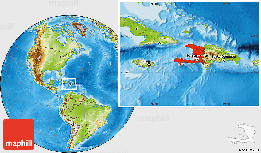 Physical Location Map Of Haiti - Physical map of haiti