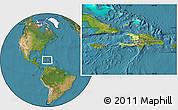 Physical Location Map of Haiti, satellite outside