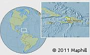 Physical Location Map of Haiti, savanna style outside, hill shading