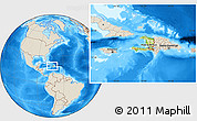 Physical Location Map of Haiti, shaded relief outside