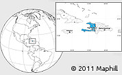 Political Location Map of Haiti, blank outside