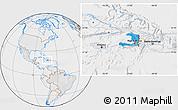 Political Location Map of Haiti, lighten, desaturated