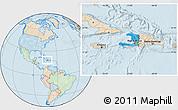 Political Location Map of Haiti, lighten, land only