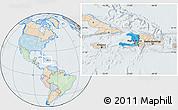 Political Location Map of Haiti, lighten