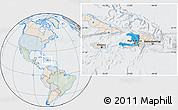 Political Location Map of Haiti, lighten, semi-desaturated