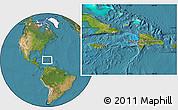 Political Location Map of Haiti, satellite outside
