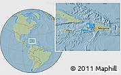Political Location Map of Haiti, savanna style outside, hill shading