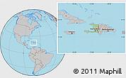 Savanna Style Location Map of Haiti, gray outside