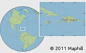 Savanna Style Location Map of Haiti, hill shading inside