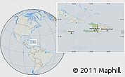 Savanna Style Location Map of Haiti, lighten, semi-desaturated