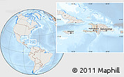 Shaded Relief Location Map of Haiti, lighten