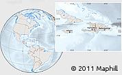 Shaded Relief Location Map of Haiti, lighten, semi-desaturated