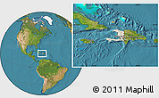 Shaded Relief Location Map of Haiti, satellite outside