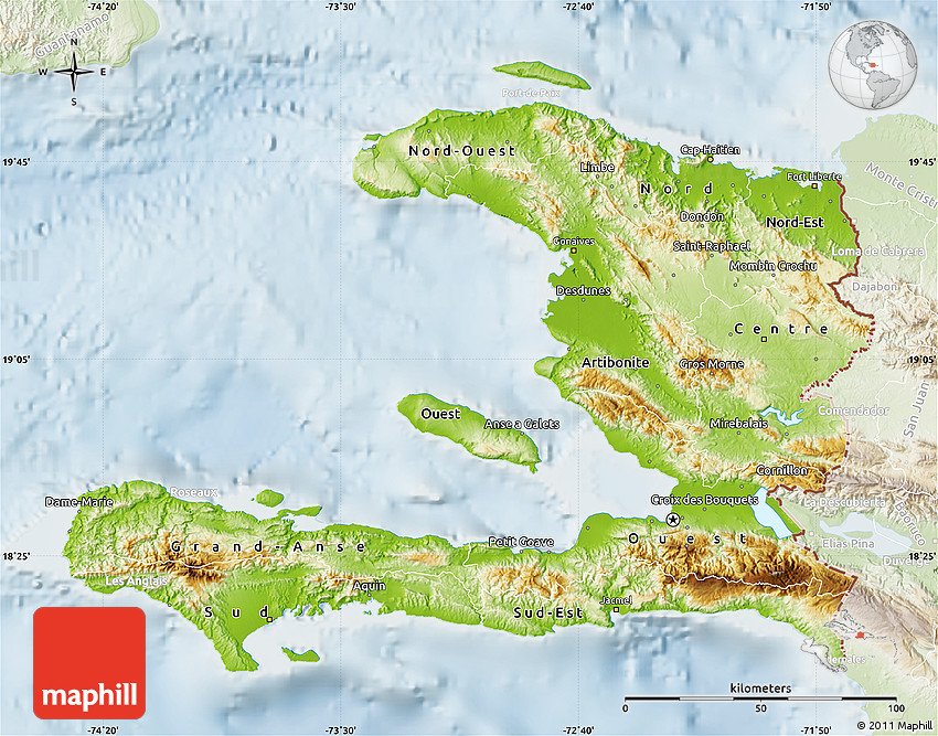 Physical Map Of Haiti Lighten - Physical map of haiti