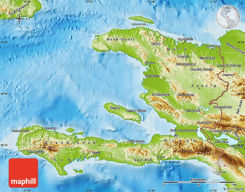 Physical Map of Haiti