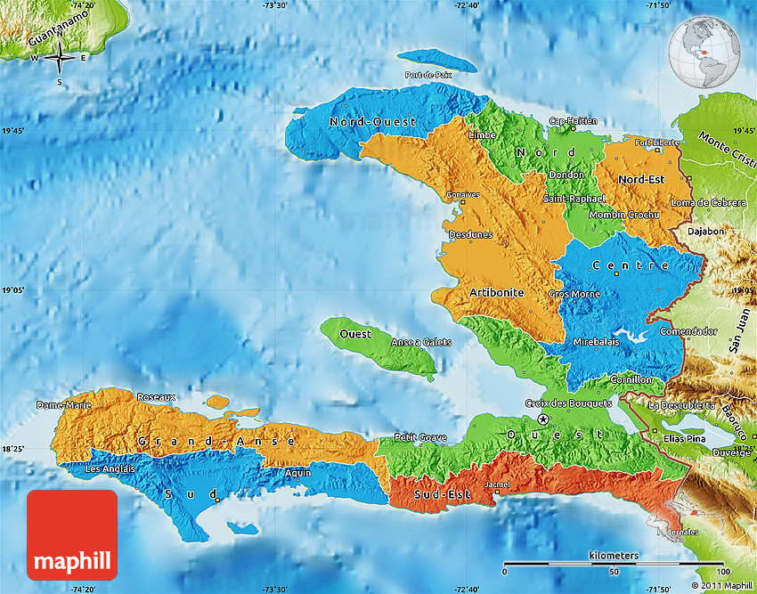 Political Map of Haiti physical outside