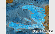 Political Shades Map of Haiti, darken