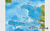 Political Shades Map of Haiti, satellite outside, bathymetry sea