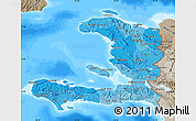 Political Shades Map of Haiti, semi-desaturated, land only