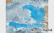 Political Shades Map of Haiti, semi-desaturated