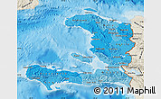 Political Shades Map of Haiti, shaded relief outside, bathymetry sea