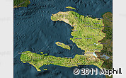 Satellite Map of Haiti, darken