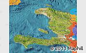 Satellite Map of Haiti, political outside, satellite sea