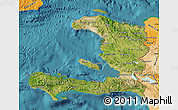 Satellite Map of Haiti, political shades outside, satellite sea