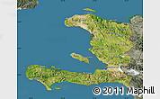 Satellite Map of Haiti, semi-desaturated, land only