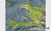 Satellite Map of Haiti, semi-desaturated