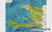 Satellite Map of Haiti, shaded relief outside, satellite sea