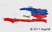 Flag Panoramic Map of Haiti, flag centered