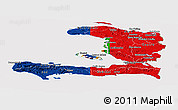 Flag Panoramic Map of Haiti, flag aligned to the middle