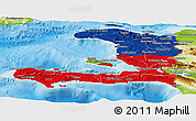 Flag Panoramic Map of Haiti, physical outside