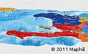 Flag Panoramic Map of Haiti, political outside