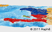 Flag Panoramic Map of Haiti, political shades outside